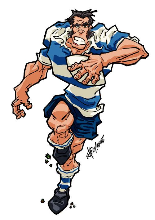 Illustrations character design t shirts et graphite web art by fritsch - Dessin de joueur de rugby ...